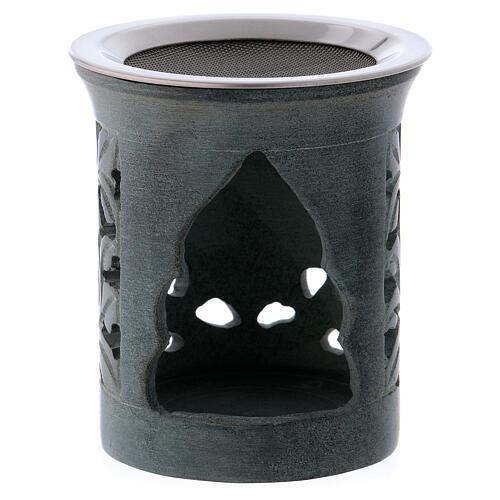 Incense burner in anthracite-colored soapstone 2