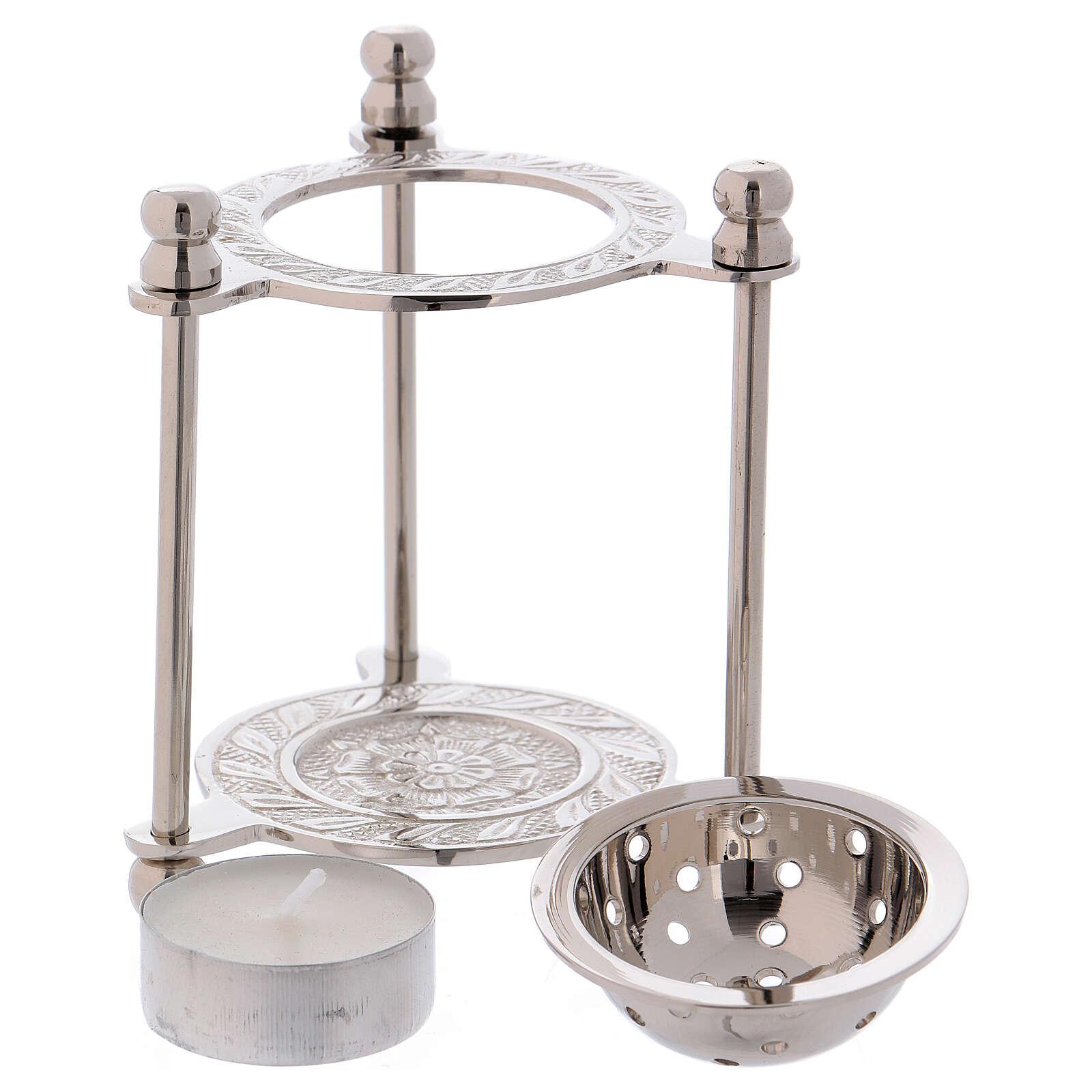 Incense burner in nickel-plated brass h 4 in 3