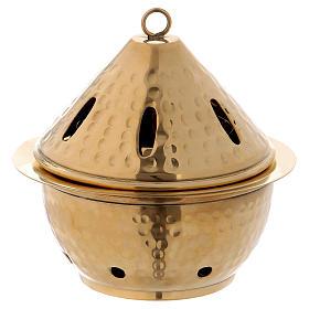 Bruciaincensi: Brucia incenso in ottone dorato martellato h. 13 cm