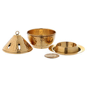 Incense burner in gold plated hammered brass h 5 in s3