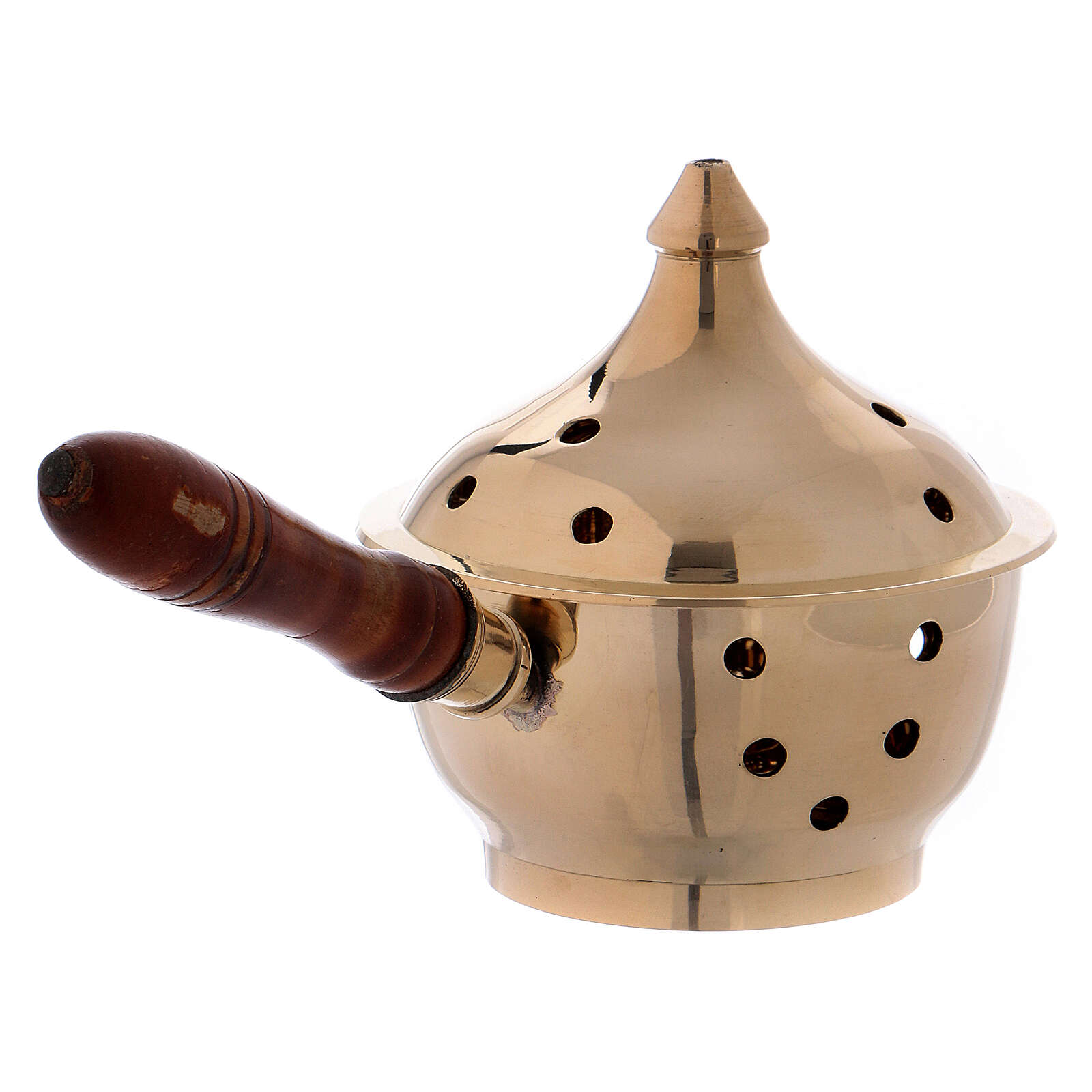 Incense burner in gold plated brass with handle 3