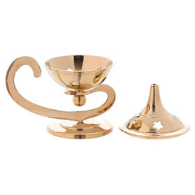 Incense burner in gold plated polish brass decorated top s3