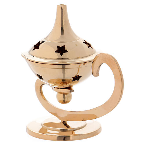 Incense burner in gold plated polish brass decorated top 2