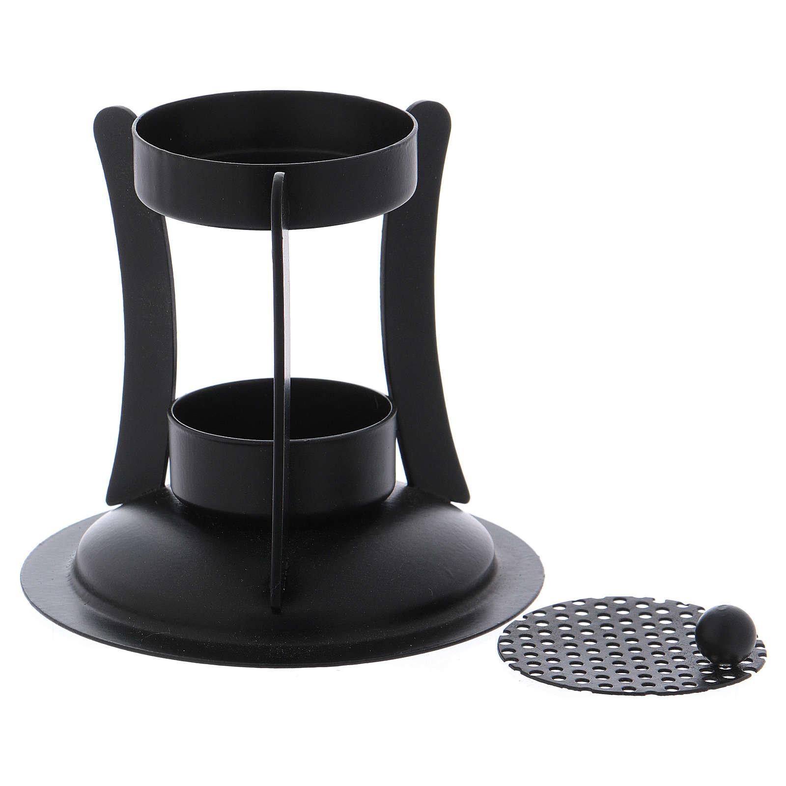 Brucia incenso ottone di colore nero h. 10 cm 3