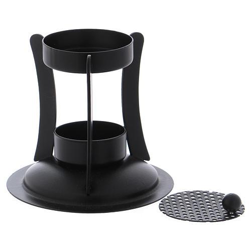 Brucia incenso ottone di colore nero h. 10 cm 2