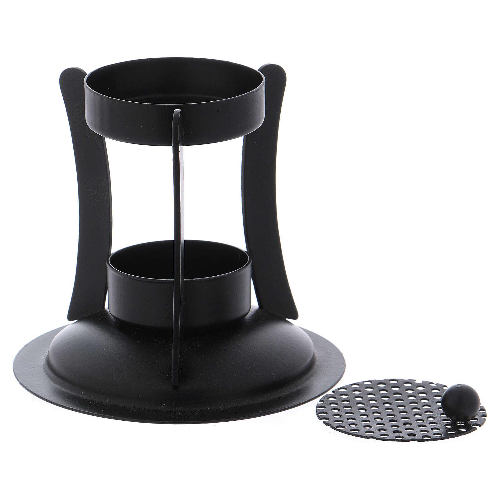 Incense burner in black colored brass h 4 in 3