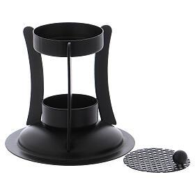Incense burner in black colored brass h 4 in s2