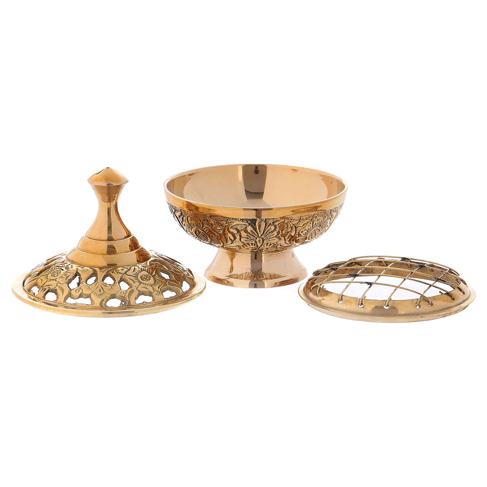 Incense burner in gold-plated brass with decorated lid h. 10 cm 3