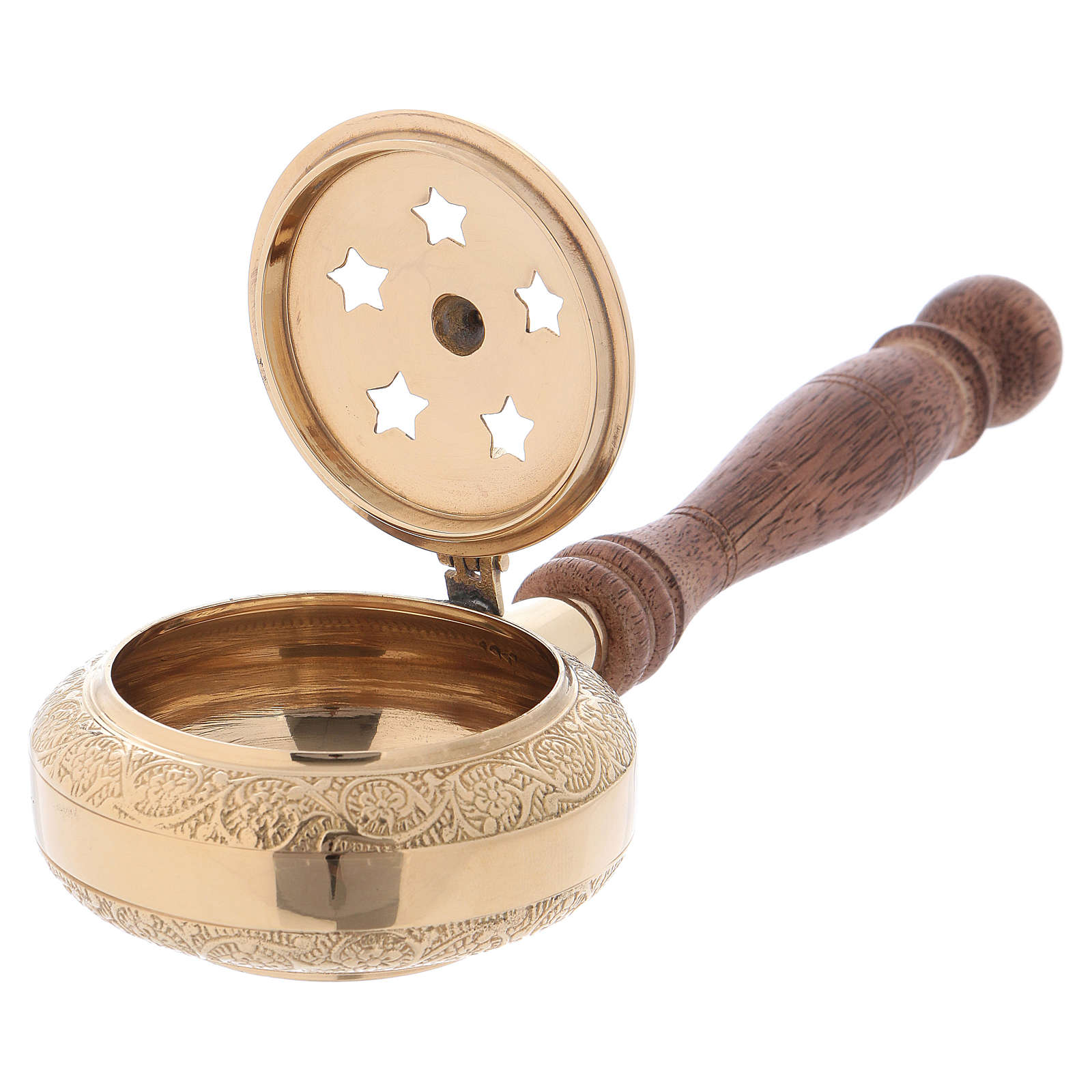 Incense burner in gold-plated brass with handle 3