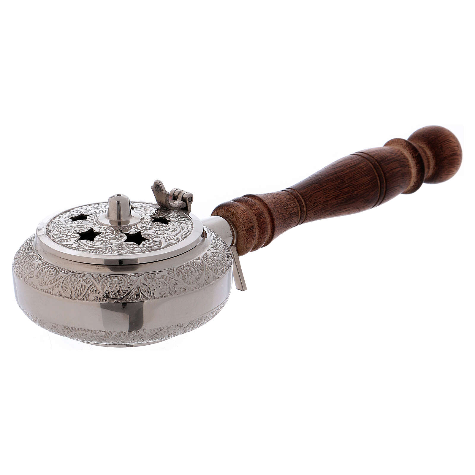 Incense burner in nickel-plated brass top with stars and wood handle 3