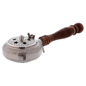 Incense burner in nickel-plated brass top with stars and wood handle s3