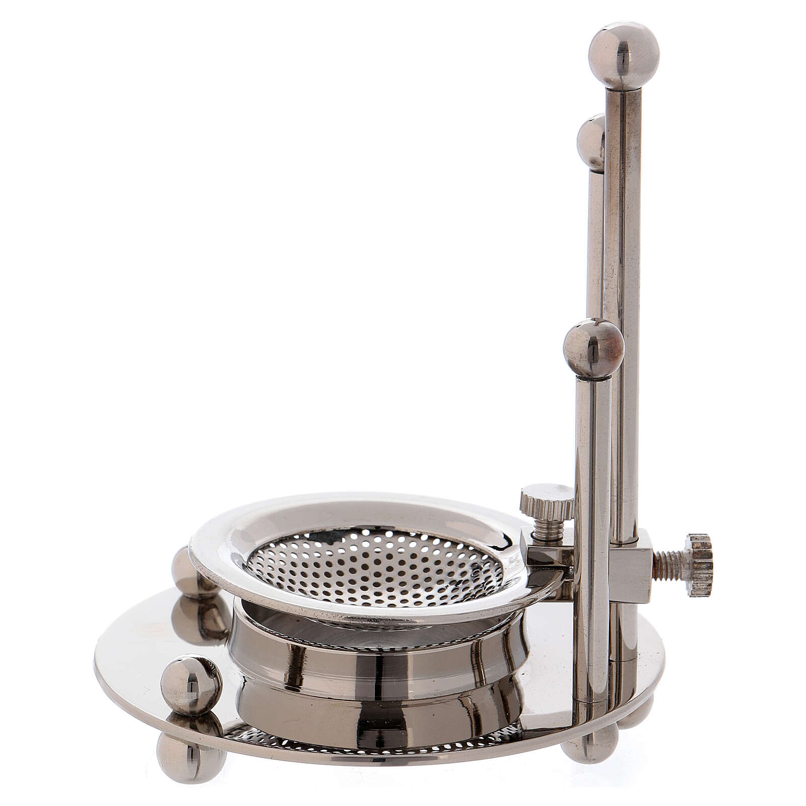 Incense burner in nickel-plated brass removable net 3