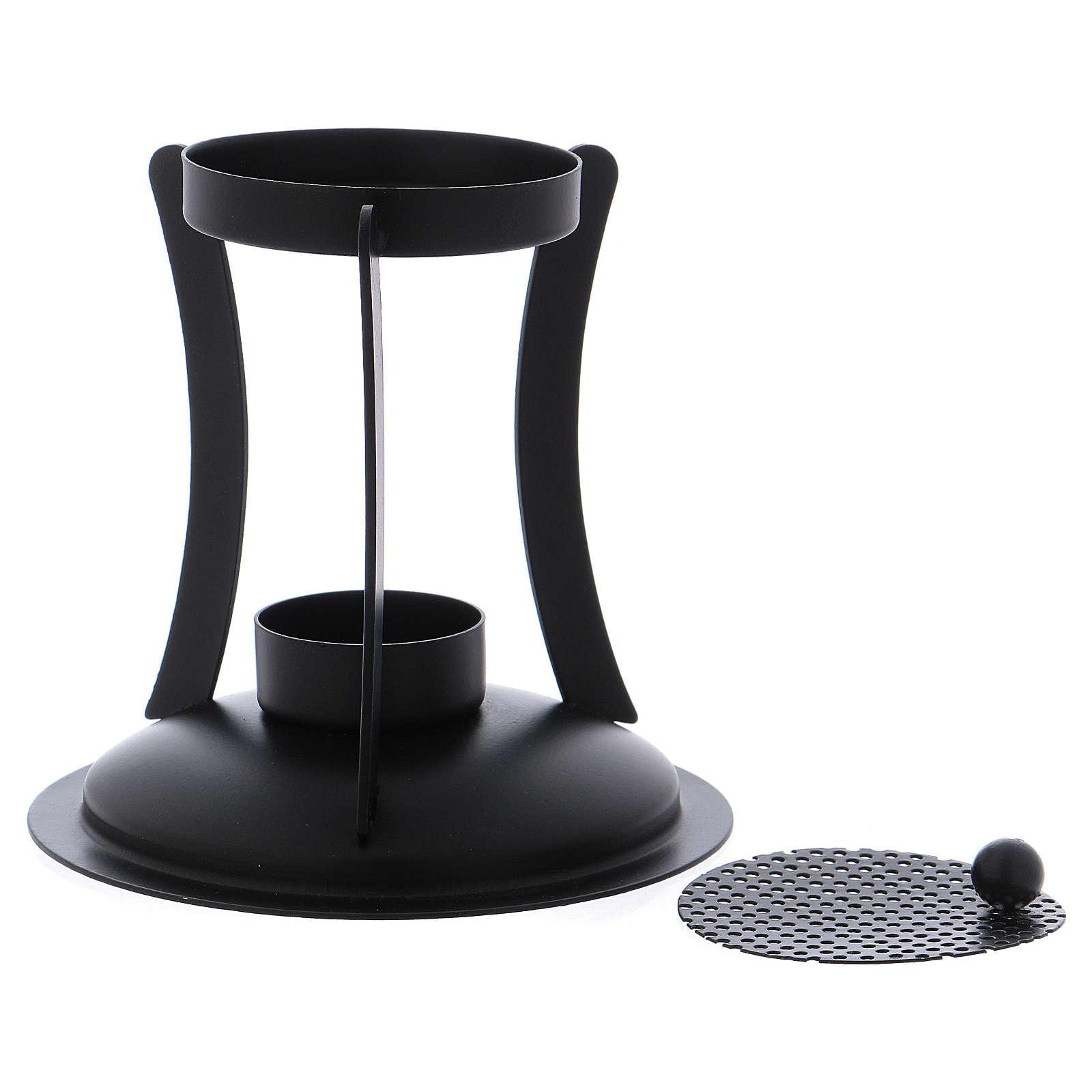 Brûle-encens en laiton noir grille amovible 3