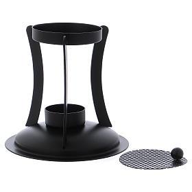 Brûle-encens en laiton noir grille amovible s2
