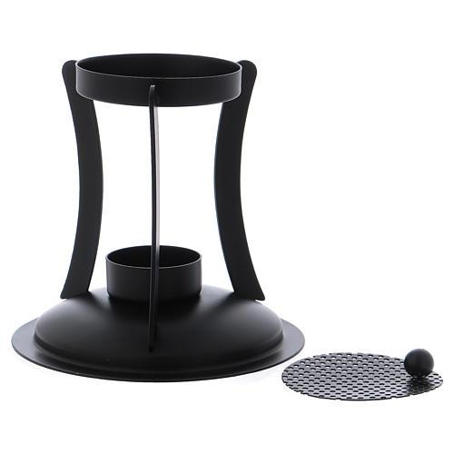 Brûle-encens en laiton noir grille amovible 2