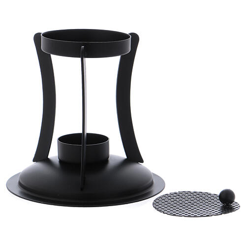 Incense burner in black brass removable net 2