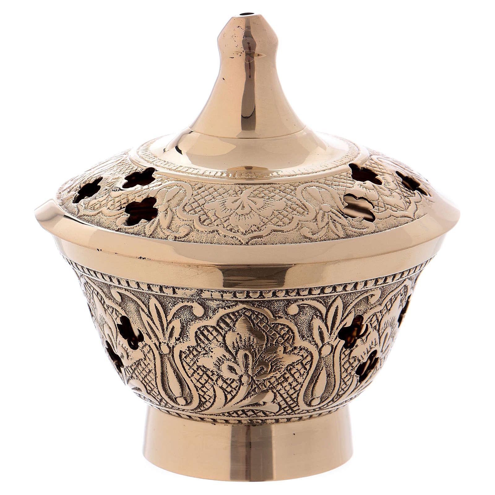Brûleur encens en laiton doré vieilli avec décoration en relief 3