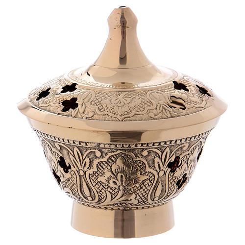 Brûleur encens en laiton doré vieilli avec décoration en relief 1