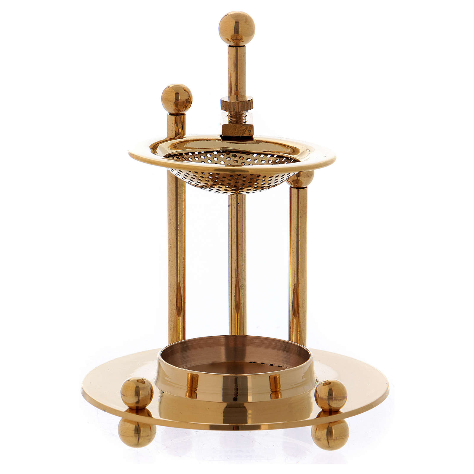 Two-level incense burner in glossy gold-plated brass 3