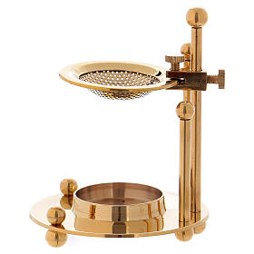 Incense burners: Two-level incense burner in glossy gold-plated brass