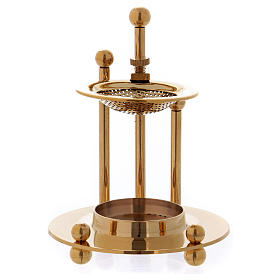 Two-level incense burner in glossy gold-plated brass s2