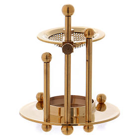 Two-level incense burner in glossy gold-plated brass s3