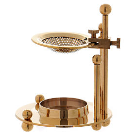 Two-level incense burner in glossy gold-plated brass s4