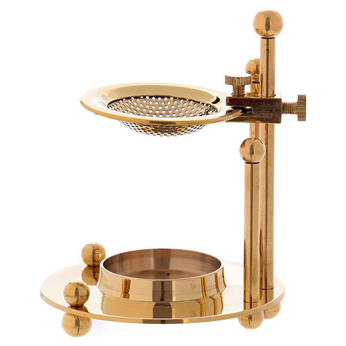 Two-level incense burner in glossy gold-plated brass 1
