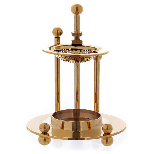 Two-level incense burner in glossy gold-plated brass 2