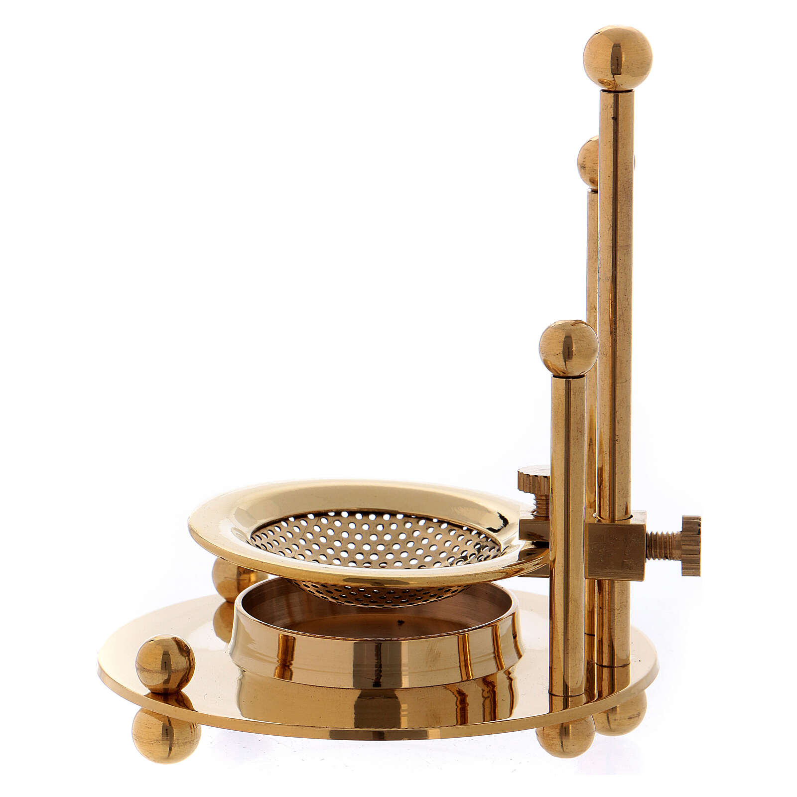 Two-level incense burner in gold plated polish brass 3