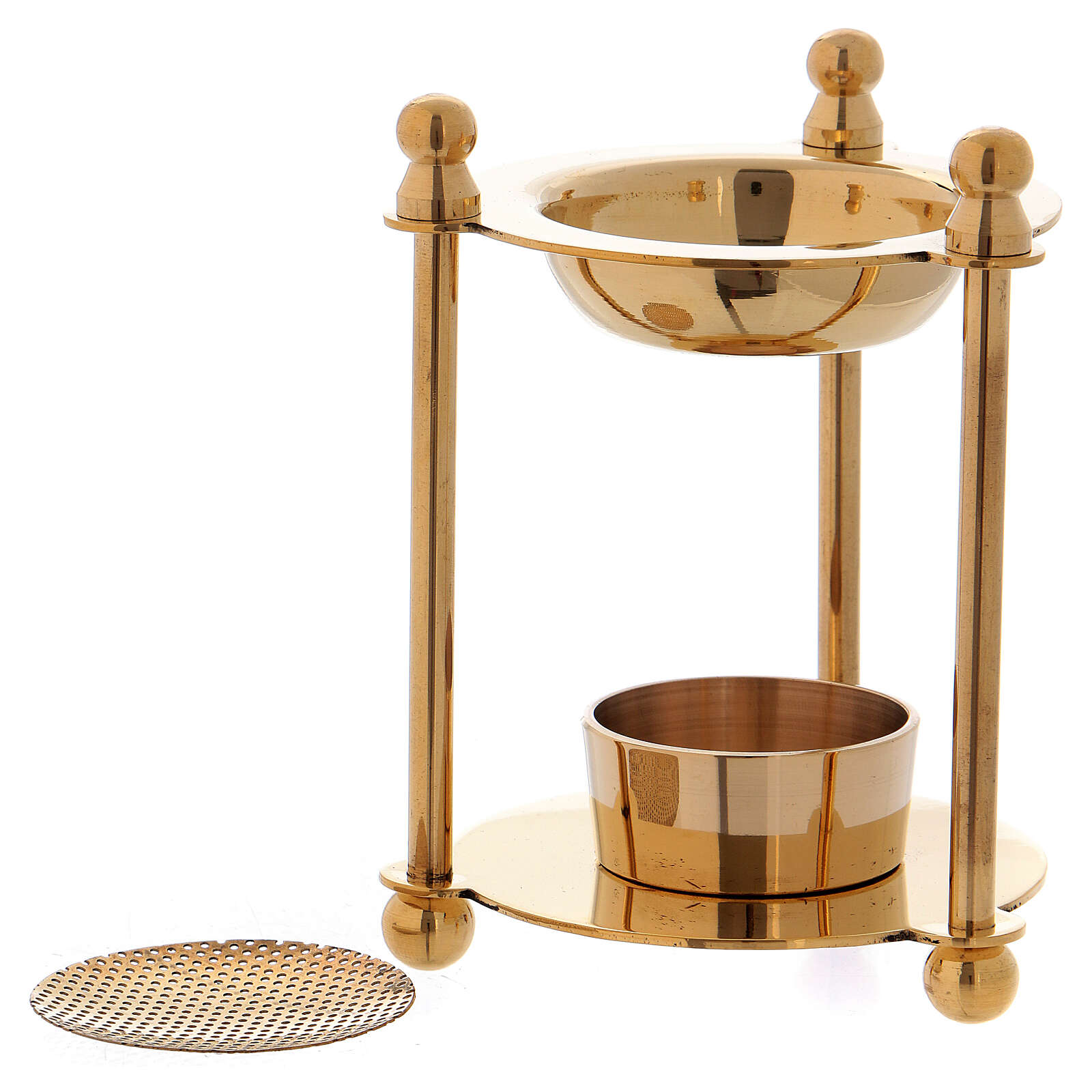 Incense burner in gold plated polish brass removable net 3