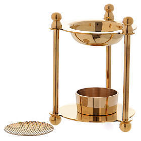 Incense burner in gold plated polish brass removable net s3