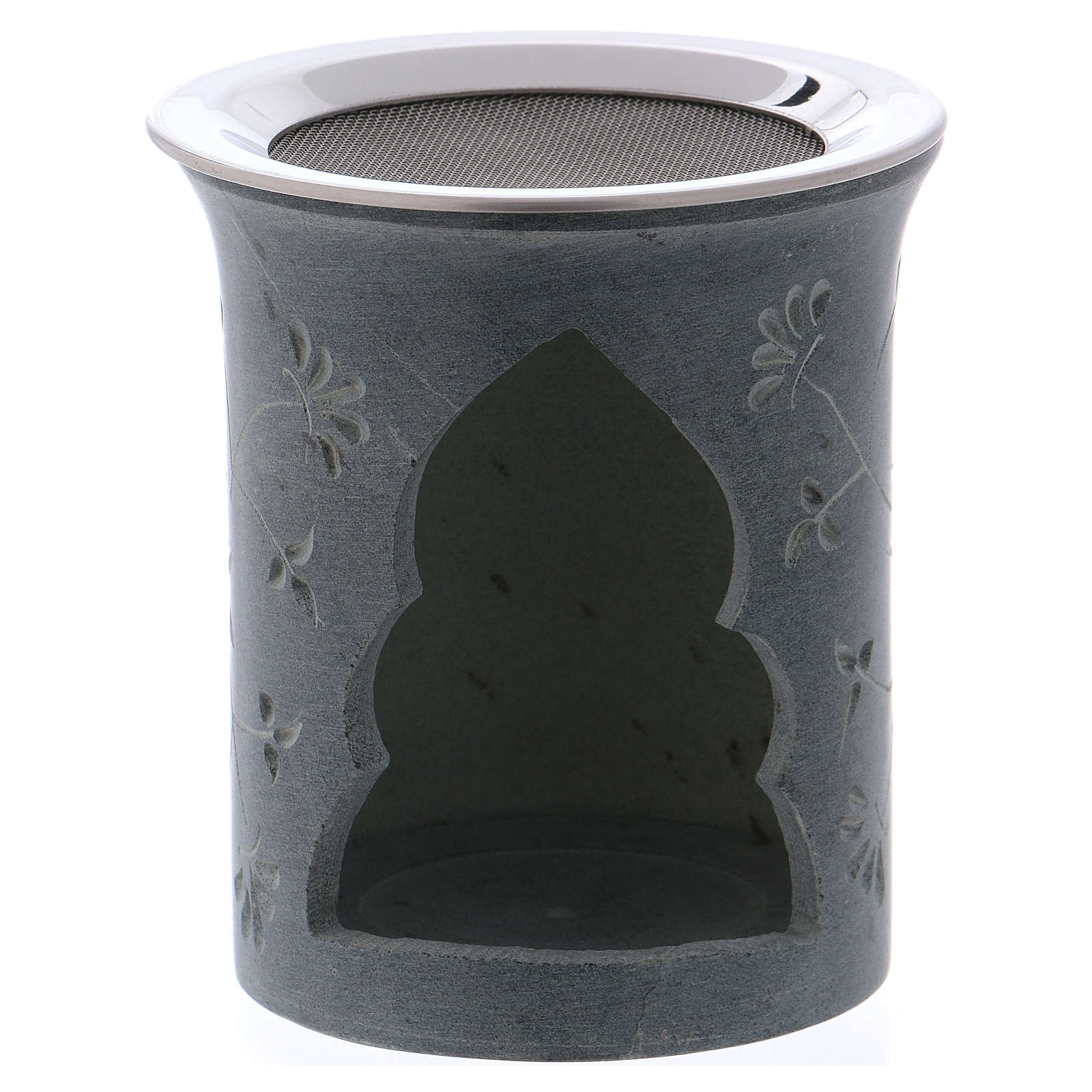 Incense burner in grey soapstone with flower-shaped decorations h. 9 cm 3