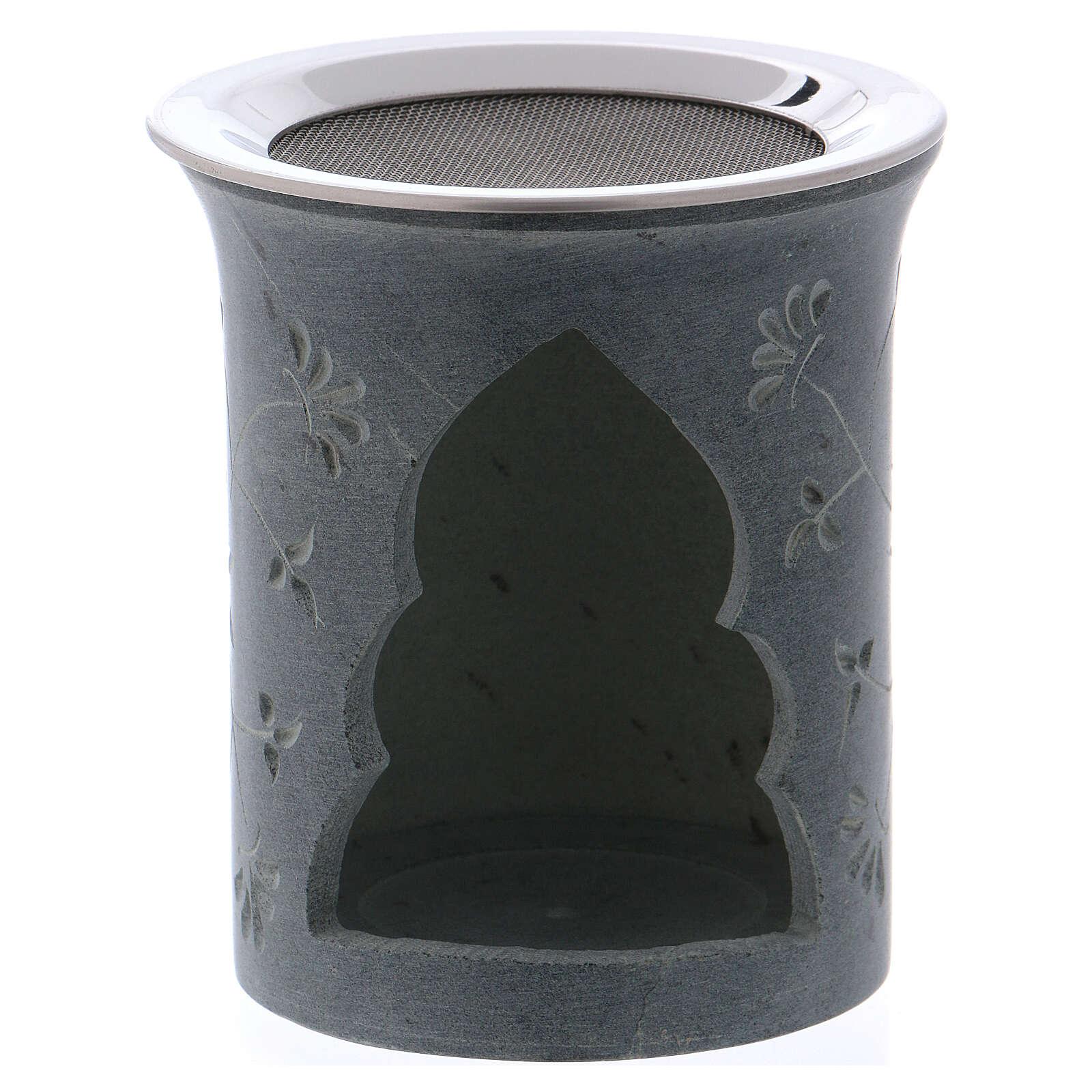 Queimador incenso em pedra-sabão cinzenta flores h 9 cm 3