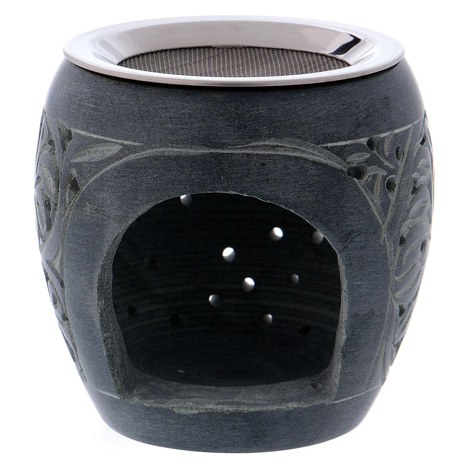 Bruciaincenso grigio in pietra ollare piccoli fori h. 8 cm 3