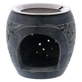 Bruciaincenso grigio in pietra ollare piccoli fori h. 8 cm s1