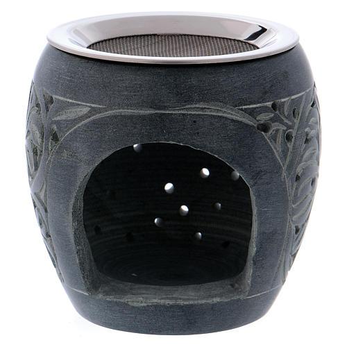 Bruciaincenso grigio in pietra ollare piccoli fori h. 8 cm 1