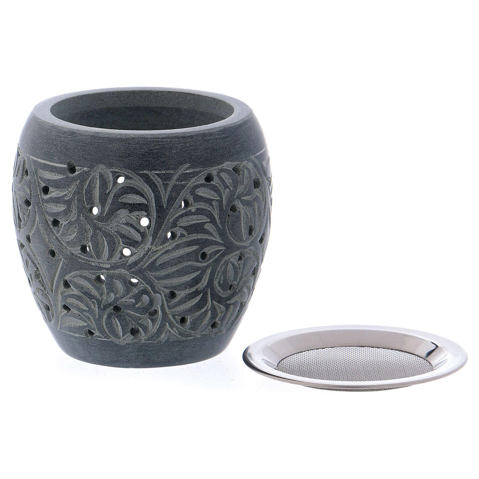 Grey incense burner in soapstone tiny holes h 3 in 3