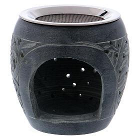 Grey incense burner in soapstone tiny holes h 3 in s1