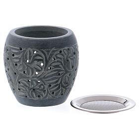 Grey incense burner in soapstone tiny holes h 3 in s2