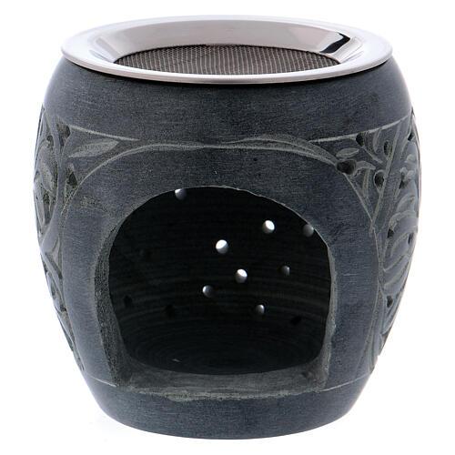 Grey incense burner in soapstone tiny holes h 3 in 1