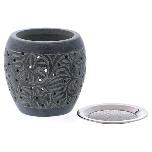 Grey incense burner in soapstone tiny holes h 3 in 2