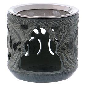 Brule-encens: Brûleur encens décorations en forme de roses en stéatite grise h 10 cm