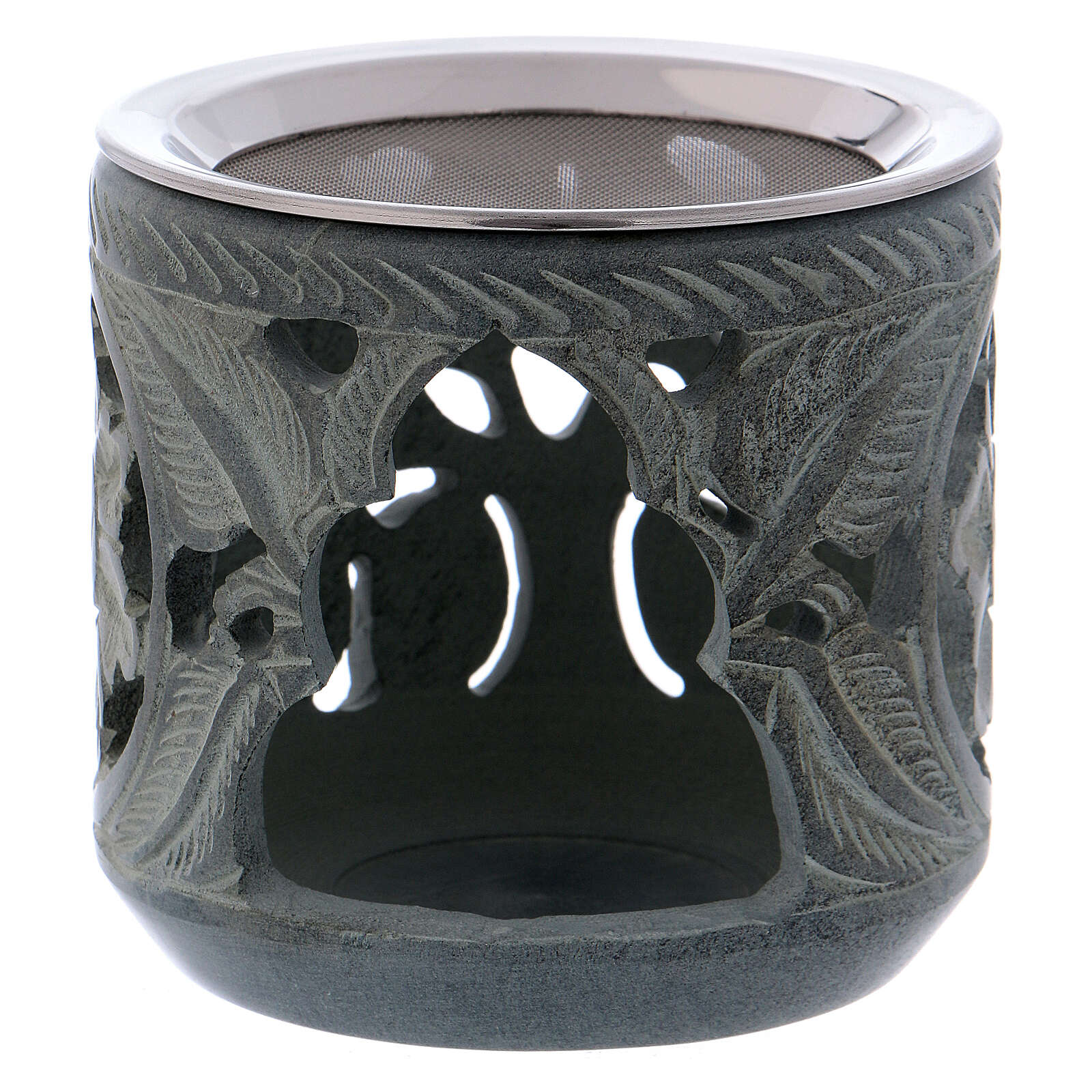 Incense burner rose shaped decorations in grey soapstone h 4 in 3