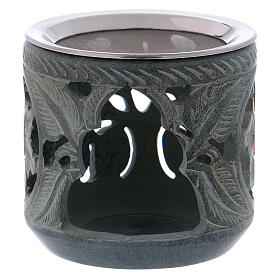 Incense burner rose shaped decorations in grey soapstone h 4 in s1