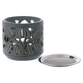 Incense burner rose shaped decorations in grey soapstone h 4 in s2