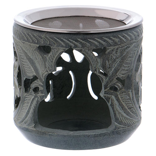 Incense burner rose shaped decorations in grey soapstone h 4 in 1