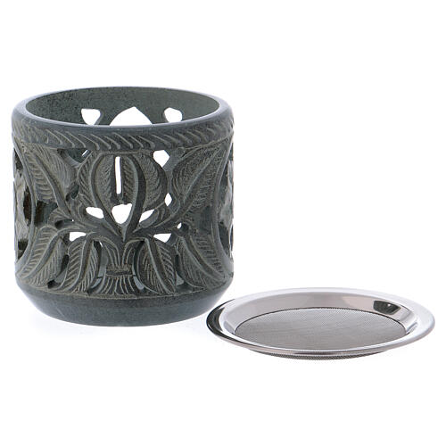 Incense burner rose shaped decorations in grey soapstone h 4 in 2