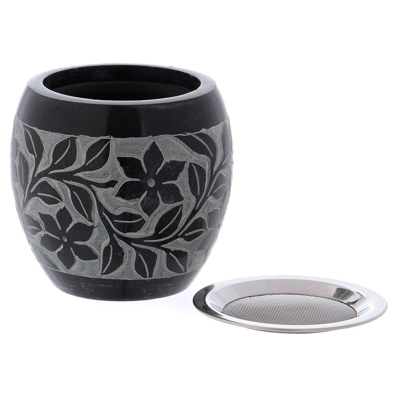 Bruciaincenso in pietra ollare nero e grigio fiori h.8 cm 3