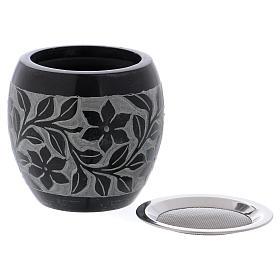 Bruciaincenso in pietra ollare nero e grigio fiori h.8 cm s2